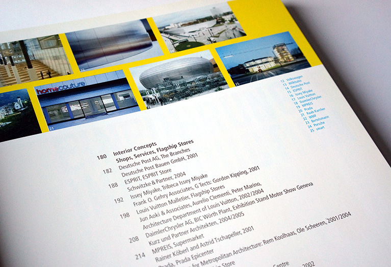 detail of an inside page of the book corporate architecture - brian switzer, esther mildenberger, envision+