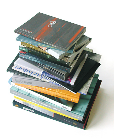 pile of books and magazines designed by envision+ - brian switzer, esther mildenberger