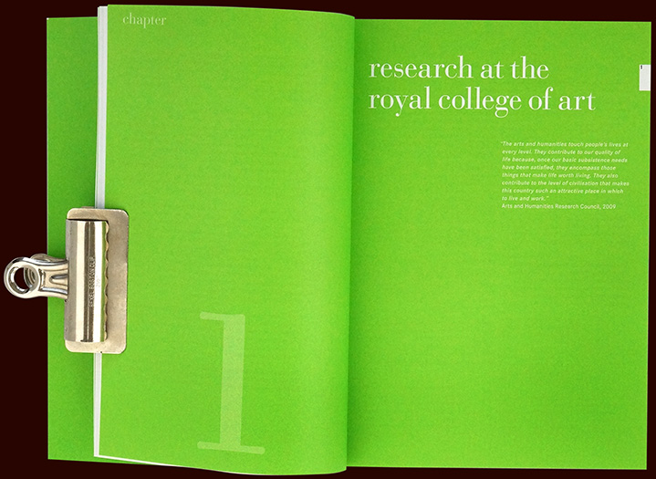 inside pages of the research handbook for the research methods course at the royal college of art - esther mildenberger, envision+