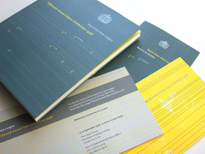 art catalogue, flyer and invitations for the royal over-seas league - esther mildenberger, envision+
