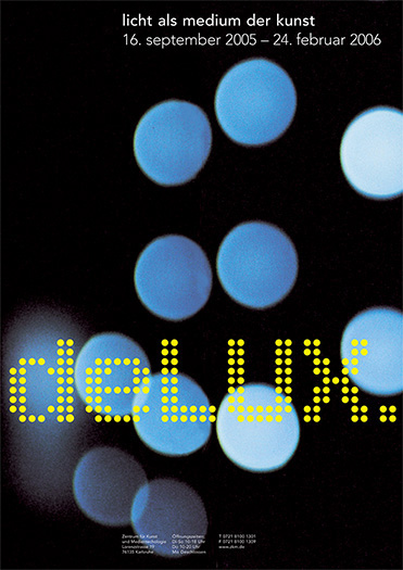 poster with colored lights for zkm light art exhibition - brian switzer, esther mildenberger, envision+